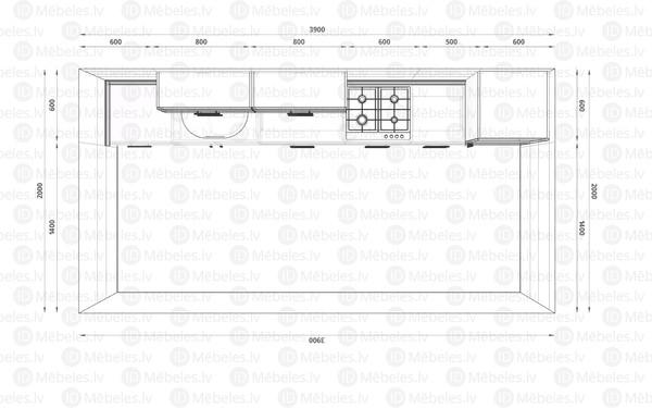 Virtuves komplekts Florence 390 cm