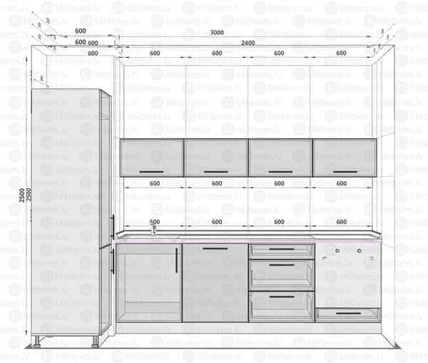 Virtuves komplekts Beige mat 240 cm /60 cm