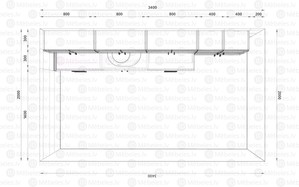 Virtuves komplekts Balts-Dab craft 340 cm