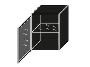 Augšējais vitrīnas skapītis W3S/60 BLACK ALU