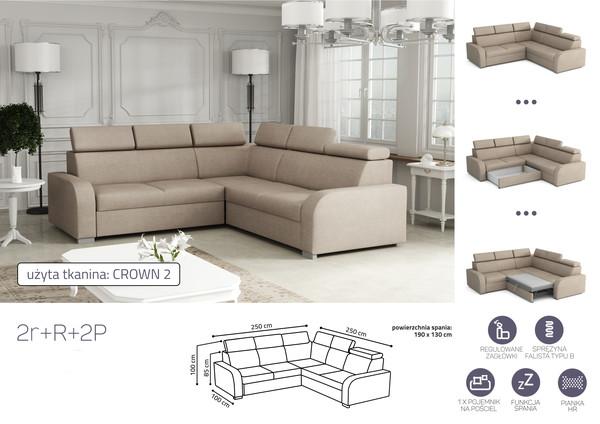 Stūra dīvāns izvelkams Dave 2rR2p (P/L)