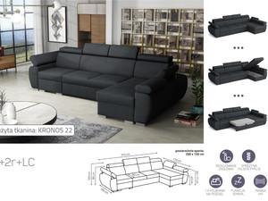Stūra dīvāns izvelkams Aston 1+2r+LC