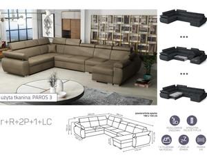 Stūra dīvāns izvelkams Aston 2r+R+2p+1+LC