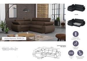 Stūra dīvāns izvelkams Aston 1(80)+R+2r