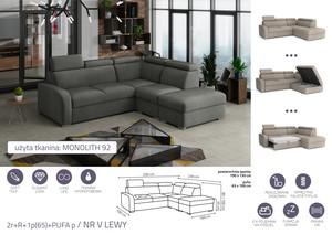 Stūra dīvāns izvelkams Dave 2r+R+1p(65)+PUFA p