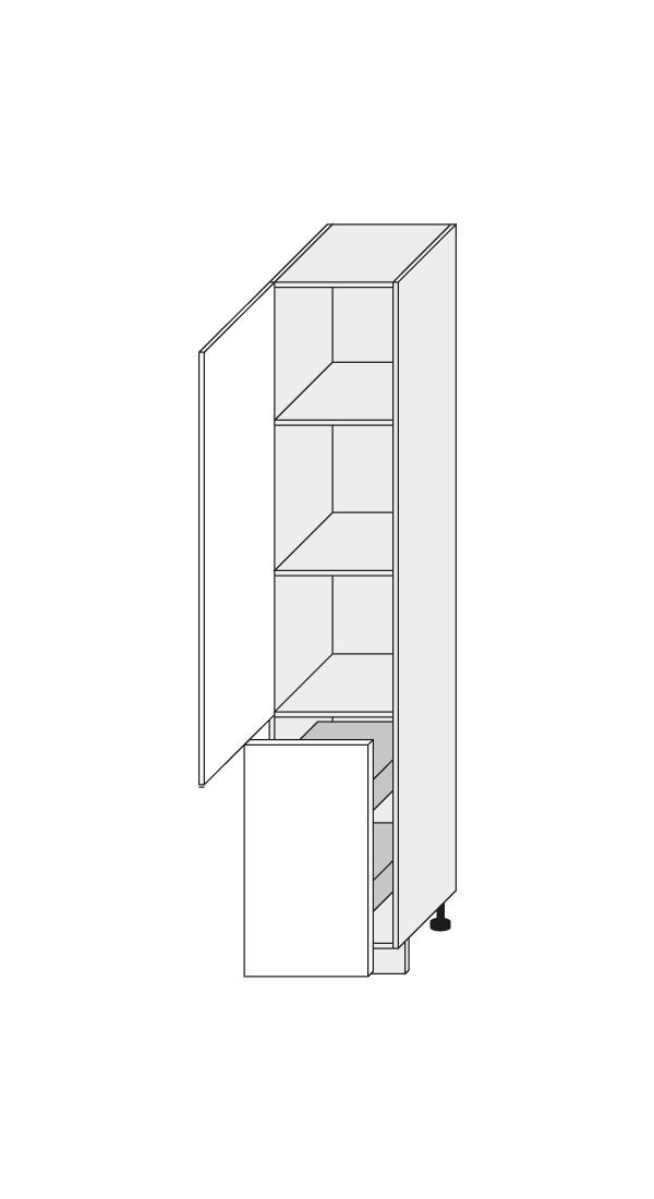 Virtuves skapītis Black 2D14K/40+cargo