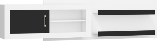 Korpuss: Balts. Fasāde: Balts / Melns pulēts