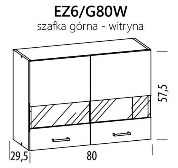 Augšējais vitrīnas skapītis ELIZA EZ6/G80W