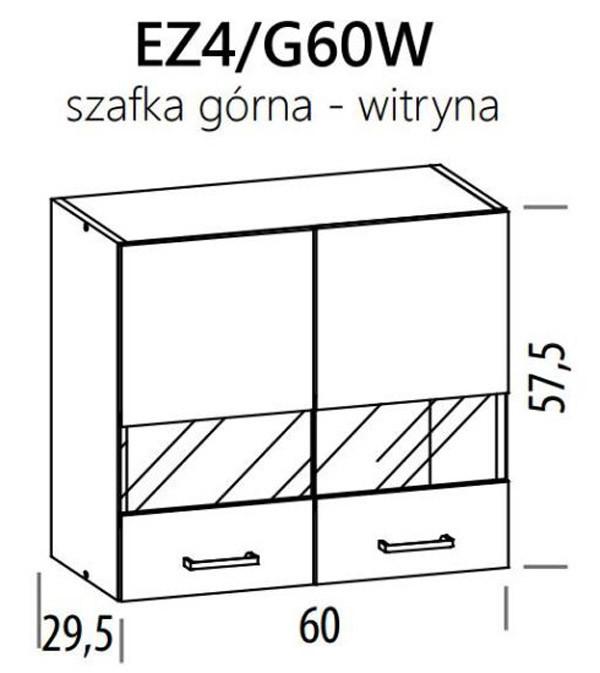 Augšējais vitrīnas skapītis ELIZA EZ4/G60W