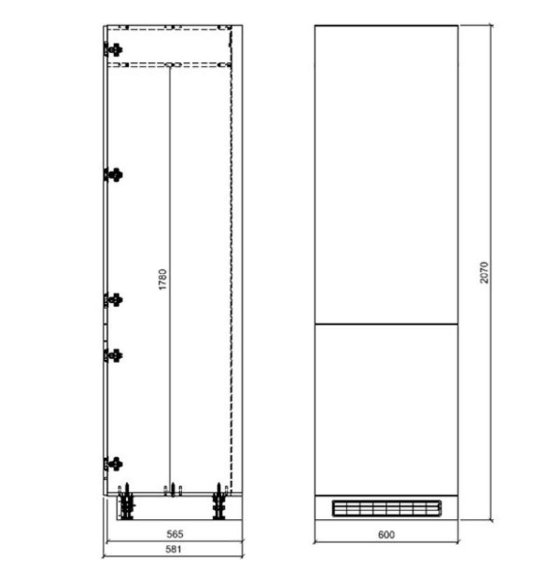 Skapis iebūvējamajam ledusskapim Latte D14/DL/60/207