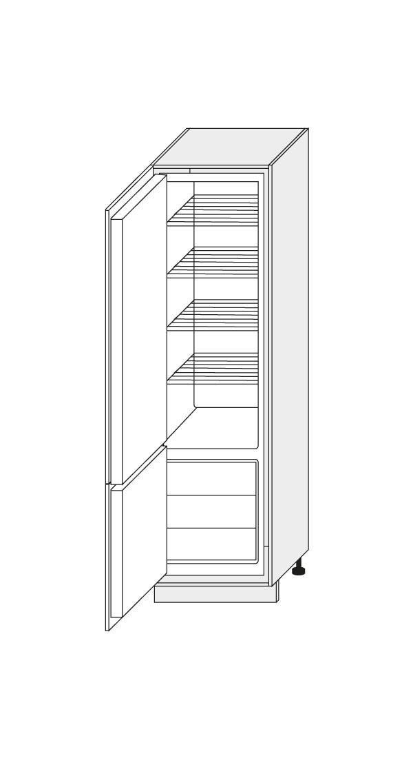 Skapis iebūvējamajam ledusskapim Fino biale D14/DL/60/207